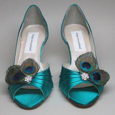 Custom Wedding Shoes - Peacock Feather Adornment on Bridge