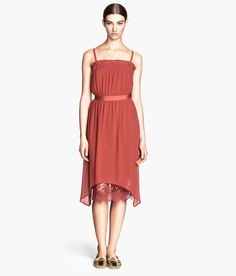 Rust coloured chiffon dress with lace. #HMTrend