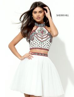 Hill 50645 Halter Short Party Dress Sherri Hill 50645 is a short, two-piece party dress with a halter neckline and intricate beading on the top and waist. Sherri Hill Short Dresses, Sherri Hill Homecoming Dresses, Two Piece Homecoming Dress, Cute Prom Dresses, Grad Dresses, Trendy Dresses, Dance Dresses, Evening Dresses, Pretty Dresses For Teens
