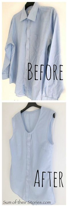 Keep the sleeves and not so low on neckline. old shirt to new summer top