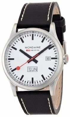 Mondaine Men's A667.30308.16SBB Day Date Leather Band Watch Mondaine. $187.50. Case diameter:41mm. Stainless steel case. Swiss quartz movement. Water resistant up to 330 ft depth. Durable mineral crystal. Save 23% Off!