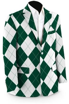 Mens Sport Coats by Loudmouth Golf - Green & White Argyle.  Buy it @ ReadyGolf.com