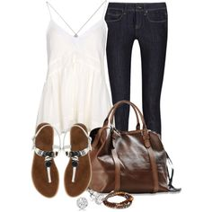 A fashion look from April 2013 featuring Vanessa Bruno tops, Burberry jeans and Chinese Laundry sandals. Browse and shop related looks.