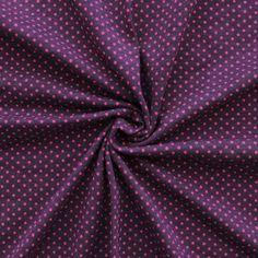 Baumwoll Stretch Jersey  Punkte mini  Farbe Aubergine-Pink