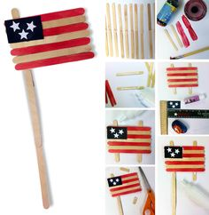 Pin for Later: 250 Easy, Fun Ways to Get Crafty With Your Kids! Popsicle Stick Flag Kids can get patriotic, and crafty, with this cute and simple Popsicle stick flag. Source: Art Projects For Kids Patriotic Crafts, July Crafts, Summer Crafts, Patriotic Symbols, Americana Crafts, Holiday Crafts, Projects For Kids, Art Projects, Crafts For Kids