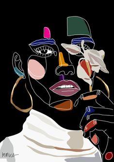 Mysterious Flower Girl Art Print by mmvce - X-Small Art Sketches, Art Drawings, Pop Art Drawing, Drawing Ideas, Tableau Pop Art, Kalender Design, Arte Sketchbook, Abstract Line Art, Arte Pop
