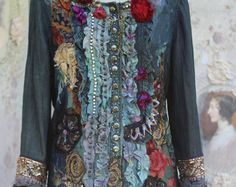 mood Baroque artful blouse with antique laces and by FleursBoheme