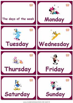 Printable days of the week - Flashcards For Learning More