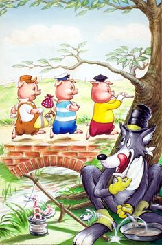 """The Three Little Pigs"" Artist Robert Lumley - A Classic Brothers Grimm Fairy Tale - Germany  (1812)"