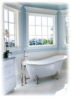 Vintage baths are back! Featuring vintage bathroom fixtures, bathroom lighting, vintage bath design tips and resources. Blue Bathrooms Designs, Vintage Bathrooms, Bathroom Remodeling Contractors, Home Remodeling, Best Blue Paint Colors, Paint Colours, Soft Colors, Style Deco, Intelligent Design