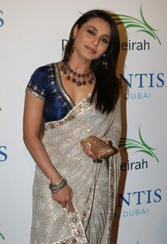 Rani in cream sari and blue blouse Sabyasachi creation - find more about him and his work here: - http://sabyasachiandmukherjee.blogspot.co.uk/