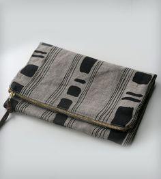Stripes & Squares Foldover Clutch