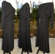 1980s 80's Dress / Elegant / Draped / Black / Ruched by JEWVENCHY