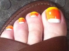pics of painted fingernails | Trick or Treat, Eat my Feet : Candy Corn Halloween Nail Art | I Could ...