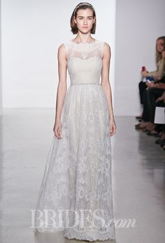 Brides.com: Christos - Spring 2015. Sleeveless corded lace A-line wedding dress with an illusion high neckline, sweetheart bodice, and scallop edge, Christos