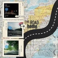 "Love the ""road"" idea in this! Very visually effective and great for a travel layout. Vroom Zoom Chugga Choo by Kristin Aagard Designs On the Road by Kristin Aagard Designs A Day Out. Travel Scrapbook Pages, Paper Bag Scrapbook, Vacation Scrapbook, Scrapbook Journal, Scrapbook Supplies, Scrapbook Cards, Scrapbook Blog, Ideas Scrapbook, Scrapbook Titles"