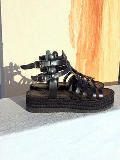 Black leather Greek sandals black gladiator platform flatform