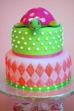 Pink and Green Turtle Baby Shower - Kara's Party Ideas - The Place for All Things Party Cupcakes, Cupcake Cookies, Turtle Cookies, Pretty Cakes, Beautiful Cakes, Amazing Cakes, Baby Shower Cakes, Baby Shower Parties, Shower Party