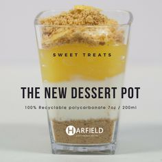 The New Dessert Pot – Sweet Treats. 100% Recyclable polycarbonate, Made in the UK, Stock immediately available. Crumbly biscuit base, vanilla cheesecake, lemon curd.  Order yours now at https://www.harfieldtableware.co.uk/catalogsearch/result/?q=dessert+pot   #Sweettreats #Lowercarbonfootprint #environment #crumblybiscuitbase #vanillacheesecake #lemoncurd #dessertpot #polycarbonate