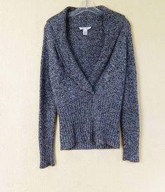 White House Black Market Variegated Shawl Collar Wrap Sweater S Black White #WhiteHouseBlackMarket #ShawlCollarWrap