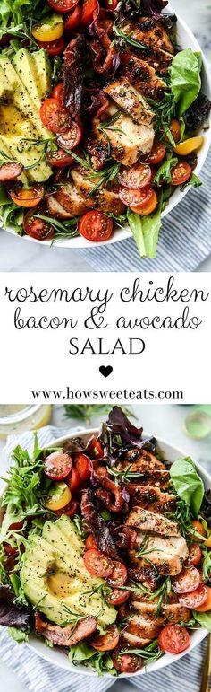rosemary chicken, bacon and avocado salaroesd I http://howsweeteats.com
