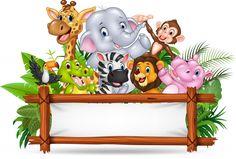African animals with blank sign Premium Vector Happy Birthday Blue, Jungle Theme Birthday, Wild One Birthday Party, Animal Birthday, Safari Party, Safari Theme, Deco Jungle, Jungle Safari, Disney Frames
