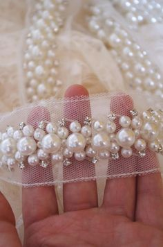 pearl beaded trim, pearl lace trim, pear bead rhinestone trimming for sash, headband, top quality wedding decors _ {categoryName} - AliExpress Mobile Version - Couture Embroidery, Embroidery Fashion, Beaded Embroidery, Embroidery Stitches, Hand Embroidery, Embroidery Designs, Embroidery Materials, Beaded Trim, Beaded Lace