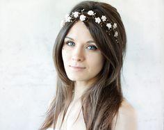 Mariage tiare. Couronne d'or. Fleurs accessoires.  Diadème de mariée, diadème de mariage, couronne de fleurs de mariage, Blush tiare, bandeau, accessoires de cheveux de mariée, perles, Couronnes...