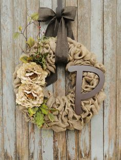 Burlap Wreath with Beige Peony flowersBurlap by WhimsyChicDesigns