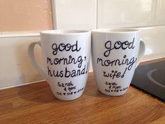 Personalised sharpie wedding day mugs.