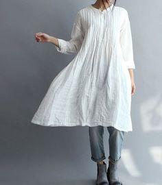 Etsy の Women Cotton Long Shirt white gown by MaLieb