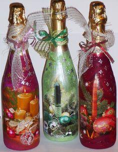 идеи декор бутылок новогодние - Поиск в Google