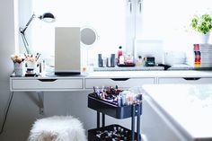Makeup Aufbewahrung, Makeup Storage, Beauty Sammlung, Schmink Sammlung, Ikea Alex, Ikea Raskog, whoismocca.com