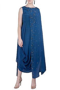 K-ANSHIKA Jaipur Featuring an indigo blue embellished cowl dress in crepe base with back drape.