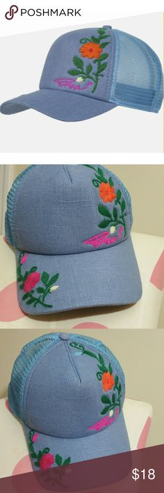 prAna Embroidered Trucker Hat in Bijou Blue Like new condition No signs of wear Floral embroidery detail Adjustable in the back Mesh back Prana Accessories Hats