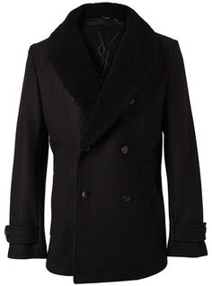Fancy - Yves Saint Laurent Wool Peacoat with Shearling Collar in Black for Men   Lyst