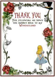 Alice in Wonderland Vintage Look Party Invitations - Matching Thank You Card - Personalized - Digital - Printable