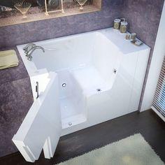 MediTub Wheelchair Accessible 29x53-inch Left Drain White Soaking Walk-In Bathtub (29x53 inch, Soaker Tub, White, Left)