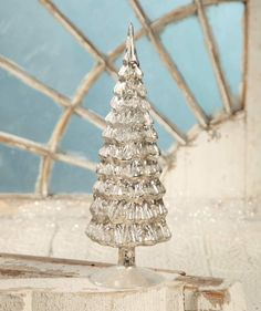 Antique Silver Mercury Glass Christmas Tree