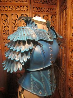 women's Leather Armor- Blue Jay 2  by SavagePunkStudio - made-to-order leather armor harness- 8-10 oz. hardened veg-tan leather, nickel silver hardware, wax cord