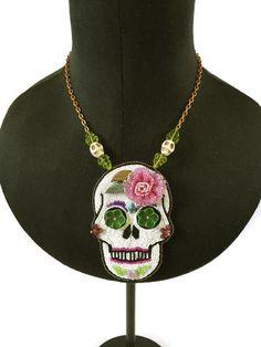 Sugar Skull Day of the dead Calavera Bead by BeadifulByJill