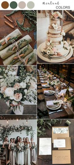 Top 10 Fall Wedding Colors for 2020 Trends You'll Love - Emm.- Top 10 Fall Wedding Colors for 2020 Trends You'll Love – EmmaLovesWeddings neutral fall wedding color ideas for 2019 - Rustic Wedding Colors, Fall Wedding Colors, Natural Wedding Decor, Wedding Ideas For Fall, Neutral Color Wedding, Neutral Colors, Fall Wedding Themes, Wedding Color Palettes, Floral Wedding