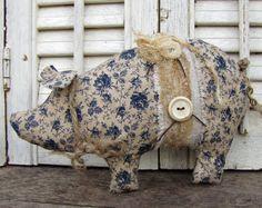 Pigs, Blue Calico Pig, Civil War Fabric,  Stuffed Pig, Hogs, Country Pig