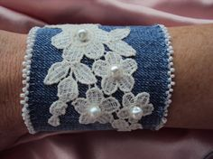 Denim cuff bracelet with vintage lace and pearls