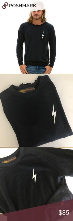 """Aviator Nation Lightning Bolt Sweatshirt UNISEX Famed Venice Beach Outpost AVIATOR NATION makes the most comfortable sweats imaginable. This is a Charcoal Crewneck Long Sleeved Sweatshirt in Large. Fit for men guns small so this may be best suited for a medium. The underarm measurement is 22"""" across, Length is 28"""" Aviator Nation Shirts Sweatshirts & Hoodies"""