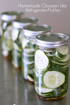Homemade Refrigerator Dill Pickles Our garden this year has been crazy and we have cucumbers coming out of our ears. We have so many cucumbers and you can only eat them so many ways. These refrigerator pickles just happens to be my favorite. Homemade Refrigerator Pickles, Best Refrigerator, Homemade Pickles, Refridgerator Pickles Dill, Claussen Pickles, Canning Pickles, How To Make Pickles, Canning Recipes, Fermentation Recipes