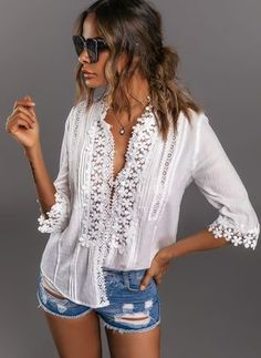 Shop Floryday for affordable Tops. Floryday offers latest ladies' Tops collections to fit every occasion. Womens Fashion For Work, Latest Fashion For Women, Latest Fashion Trends, Fashion Online, Boho Fashion, Fashion Outfits, Style Fashion, Fashion Ideas, Winter Fashion