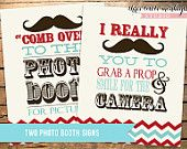Little Man Mustache Photo Booth Signs