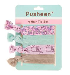 Give your hair a Pusheen makeover with this set of hair ties. Soft knotted hair ties come in pretty pastel colors and Pusheen mermaid prints.
