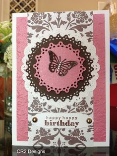 Simple B-day card using some doily dies and a butterfly die from Cheery Lynn.